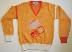 VTG 60s 70s Snoopy Knit Sweater Made IN Italy Wool Blend Tennis V Neck Rare | eBay