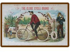 1908 Globe Cigar Bike Refrigerator / Tool Box Magnet Ad Bicycle Speedometer, Locker Magnets, White Clocks, Bicycle Lights, Refrigerator Magnets, Vintage Bicycles, Cycling Bikes, Tool Box, Cigar