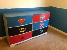 Superhero dresser for our son's nursery
