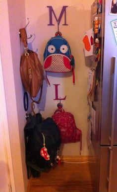 School Bag Hooks / The Creative Mummy Garage Hooks, Home Organisation, Organization, Organised Housewife, School Bags, Activities For Kids, Lunch Box, Creative, Diy
