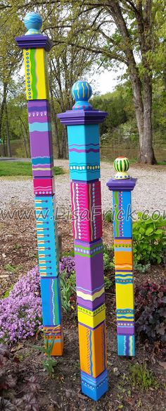 Set of 3 Garden Totems Garden Sculpture Colorful by LisaFrick