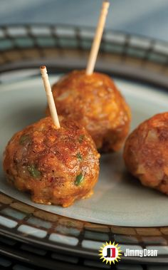 Let this recipe be the star of your next \party. Premium Jimmy Dean Maple Pork Sausage with signature seasonings, Granny Smith apples and cheddar cheese are sure to be a hit. Pro tip: They can be ready at a moment's notice if you shape and freeze them ahead of time.