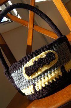 Crochet Pattern: Bat Hero Superhero Halloween Trick-or-Treat Bag Basket, Permission to Sell Finished Items Crochet Motif, Diy Crochet, Crochet Crafts, Yarn Crafts, Crochet Toys, Crochet Baby, Crochet Projects, Crochet Patterns, Crochet Baskets