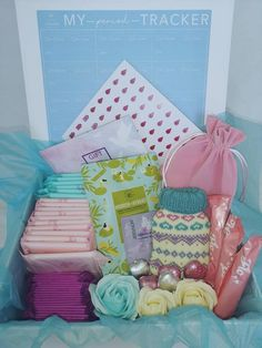 Period Starter Kit, Emergency Kit For Girls, First Period Kits, Period Pads, Keepsake Boxes, Gifts For Girls, Pink, Gift Wrapping, Health Products