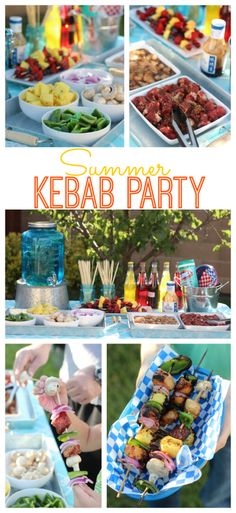 A Summer Kebab Party! Guests Customize Their Own Kebabs Then Grill! The perfect outdoor meal to enjoy with family and friends. Provide a variety of meats and veggies for guests to create their own kebabs and then grill to perfection. Summer Bbq, Summer Parties, Summer Food, Roasted Chicken Legs, Fruit Kebabs, Outdoor Dinner Parties, Outdoor Food, Outdoor Grilling, Grilled Fruit