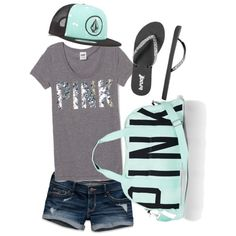 VS Pink! Bling tee summer outfit