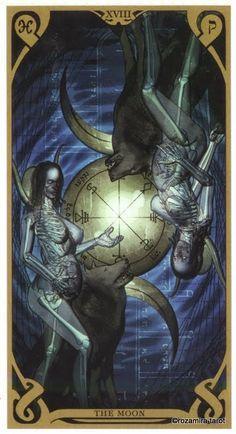 XVIII. The Moon - Night Sun Tarot by Fabio Listrani