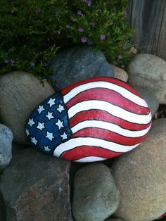 My 4th of July rock on the front walk way! SNS DESIGNS