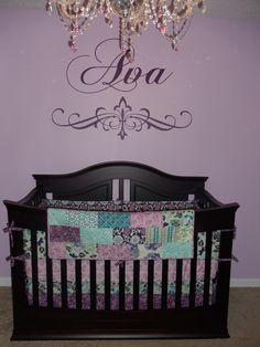 Gray white purple elephant unisex baby boy girl crib bedding set made in america girl crib - Purple baby girl nursery ideas ...
