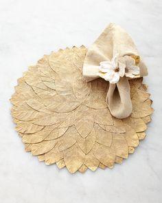 Deborah Rhodes Leaf Placemat, Tapestry Napkin, & Dogwood Napkin Ring