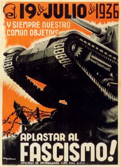 """""On July and always, our common objective – smash fascism!"" – 🇪🇸 Anarchist (CNT-FAI) propaganda poster from the Spanish Civil War referencing the July uprising in Barcelona. Spanish Teacher, Spanish Classroom, Teaching Spanish, Political Posters, Protest Posters, Political Art, Propaganda Art, Communist Propaganda, Civil War Art"
