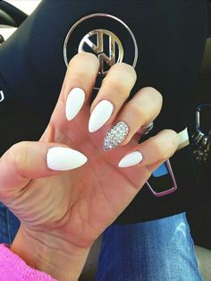 White Almond Shape Acrylic Nails w/ Rhinestones: