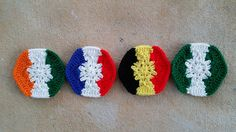 Crochet hexagons for a crochet soccer ball inspired by four vertical stripe flags, crochetbug 2014 world cup, crochet ball