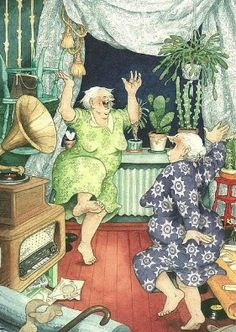 """Inge Look. Lets all grow old with this attitude. """"Come on Myrna lets live it up and have a great time. Whee, we are having such fun. love painting 49449 inge look Lets Dance, Dance Sing, Dance Music, Getting Old, Belle Photo, Old Women, Old Ladies, Have Fun, Illustration Art"""