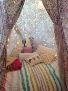 Land of Nod Fairytale tent with chandelier