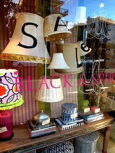 vinyl on lampshades. Such a cute idea for a sale window display. Anna Spiro is so talented. Retail Windows, Store Windows, Store Window Displays, Display Window, For Sale Sign, Sale Signs, Visual Display, Lampshades, Retail Design