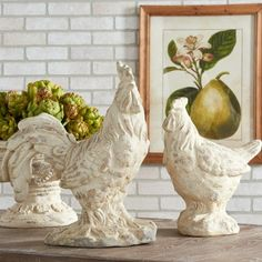 Distressed Ceramic Hen and Rooster