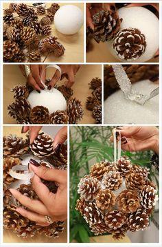 DIY: Pinecone Poms for Winter Weddings  -dziś zrobię :)