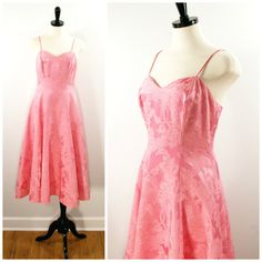 Vintage Pink Dress, 1980s Pink Floral Damask Sleeveless Fit and Flare Dress, Cocktail Length Spaghetti Strap Pink Spring Dress Size 8 M