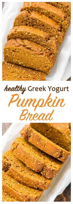 Perfect holiday breakfast for Christmas, Thanksgiving, or a homemade Christmas gift! This low fat pumpkin bread is DELICIOUS. No butter or sugar! Just pure pumpkin goodness. Easy recipe made with Gree (Pumpkin Butter Pastry) Healthy Pumpkin Bread, Pumpkin Banana Bread, Pumpkin Loaf, Healthy Bread Recipes, Pumpkin Butter, Pumpkin Dessert, Healthy Sweets, Healthy Baking, Cheese Pumpkin