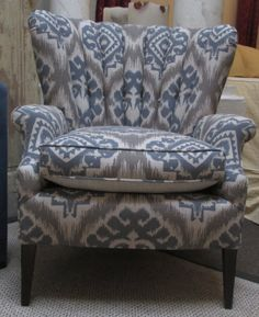 The best easy chair on pinterest. I oohd and arrd over this chair for a few minutes taking in it's comfortable gracious lines and ikat like fabric. I moved on to browse Pinterest and forgot to pin it. It's taken me 10 days to find it. Worth the hunt. It's the best. It's a vintage Channel backed chair.