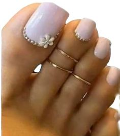 Gold Toe Ring, Gold Filled 2 Rings, Toe Rings Adjustable, Toe Rings for Women Pretty Toe Nails, Cute Toe Nails, Pretty Toes, Glitter Toe Nails, Pink Toe Nails, Simple Toe Nails, Beautiful Toes, Cute Toes, White Nails