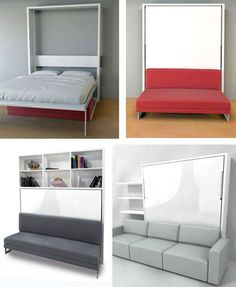 Murphy Wall Bed Couch Combo – With a Sofa in Front Cheap Murphy Bed, Murphy Bed With Sofa, Modern Murphy Beds, Murphy Bed Plans, Modern Sofa, Diy Sofa, Sofa Couch, One Room Flat, Murphy-bett Ikea