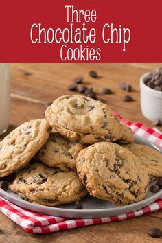 The 3 Chocolate Chip Cookie is a chocolate lover's dream. Made with three different kinds of chocolate chips, these chewy cookies ensure every bite is filled with chocolate goodness. Delicious Cookie Recipes, Best Cookie Recipes, Yummy Cookies, Brownie Recipes, Drop Cookies, Banana Chocolate Chip Cookies, Semi Sweet Chocolate Chips, Chocolate Chocolate, Christmas Cookies Packaging