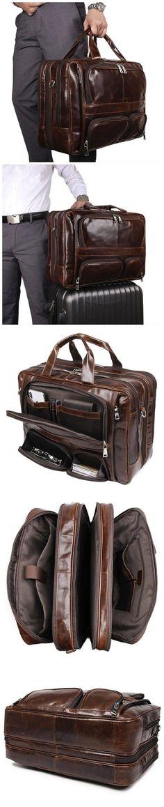 Large Capacity Tote Bag Full Grain Leather Laptop Bag Handmade Shoulder Messenger Bag W07289 Laptop Briefcase, Leather Laptop Bag, Leather Briefcase, Messenger Bag, Zipper, Tote Bag, Pocket, Wallet, Shoulder