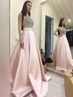 Beaded Prom Dress,Halter Prom Gowns,Long Evening Dress,Ball Gowns Prom Dress,Prom Dresses 2017, Cheap Prom Dresses,. PD0121523