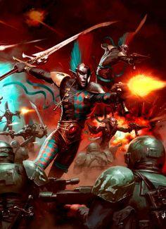 The art of Warhammer - Harlequin artwork Eldar 40k, Warhammer Eldar, Dark Eldar, Warhammer Fantasy, Chaos Daemons, Grey Knights, Tyranids, Space Wolves, The Grim