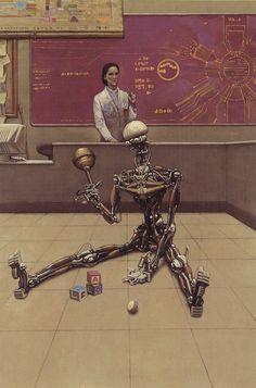 Mark Zug - I, Robot the Illustrated Sceenplay by Isaac Asimov and Harlan Ellison. Isaac Asimov, Arte Sci Fi, Sci Fi Art, Sci Fi Kunst, Science Fiction Kunst, The Frankenstein, Arte Cyberpunk, Retro Robot, Futuristic Art