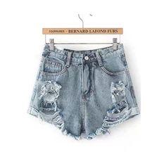 Romwe Blue Ripped Fringe Denim Shorts ($16) ❤ liked on Polyvore featuring shorts, blue, jean shorts, high-waisted shorts, high rise shorts, destroyed denim shorts and destroyed high waisted shorts