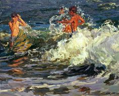 «Surfing with waves»; 80х100; oil on canvas; 2007.
