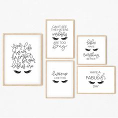 Lash lounge décor ideas for any lash salon. This lash #printable bundle is a perfect way to complete any lash room! Download this #digital print for instant interior #décor