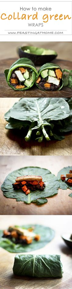 A gluten free alternative to tortillas....try using collard greens!  Easy step by step on Feasting at Home!