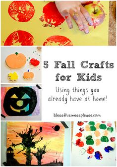 5 Fall Crafts for Kids ~ using things you already have at home!