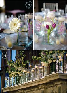 Mantle: High vases, blue, green, and white hydrangea, floating votive candles in column glasses