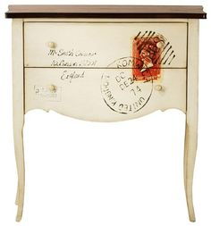 Home Decorators Collection Hand Painted International Post Cabinet, White Console Table Living Room, Living Room Kitchen, Living Room Furniture, Living Room Decor, Console Tables, Deco Furniture, Painted Furniture, Furniture Ideas, Postage Stamp Art