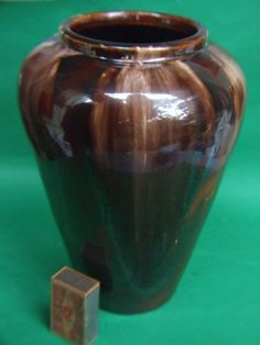 Antique Australian Bendigo  Pottery large Vase Brown Drip Glaze Vintage 1930's
