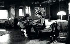 George Harrison with Bob Dylan: Woodstock, late 1968. Just before George's return for the 'Let it Be' sessions