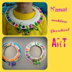 International Children Around the World theme: Africa- Kenya Maasai necklace preschool art craft.
