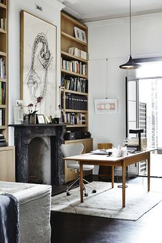 Black & Gold Home Office Design - Loving The Black Fireplace. Very Edgy Modern fireplace, Black & Gold Home Office Design Victorian Homes, Interior Design, House Interior, Office Interiors, Home, Interior, Home Office Design, Melbourne House, Home Decor