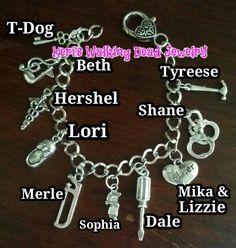 Keri's Walking Dead Jewelry- Season 1-5 character inspired charm bracelet.