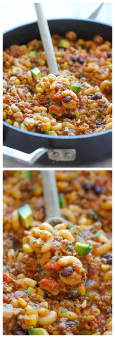 One Pot Taco Pasta - The easiest taco you will ever make. It's so easy, even the pasta gets cooked right in the pot! I can't wait to try with gluten-free pasta.