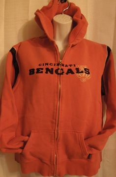 Pre-Loved REEBOK Women Sz L Cincinnati Bengals Zip Up Hoodie Jacket Sweatshirt Football  #Reebok #CincinnatiBengals
