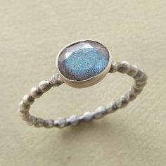 CHROMA RING--Our faceted labradorite is perched on a beaded band of matte sterling silver. Handmade. Exclusive. Whole sizes 5 to 10.
