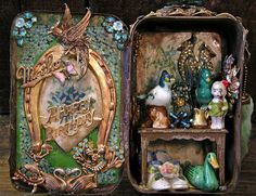The World's Best Photos by Laurie Beth Zuckerman Home Altar Installations Altered Tins, Altered Bottles, Altered Art, Tin Art, Altoids Tins, Tin Boxes, Cigar Boxes, Assemblage Art, Little Boxes