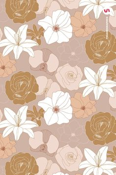 Blooming Garden Floral Patterns a set of Seamless Vector Patterns, Flower Illust. - Blooming Garden Floral Patterns a set of Seamless Vector Patterns, Flower Illustrations and Vector - Pastel Background Wallpapers, Cute Wallpapers, Wallpaper Backgrounds, Floral Pattern Vector, Floral Patterns, Textile Patterns, Aesthetic Iphone Wallpaper, Aesthetic Wallpapers, Minimalist Wallpaper