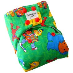Sesame Street Green One Size Cloth Diaper with PUL Snaps - Newborn Toddler Boys Girls Gender Neutral